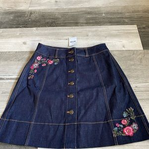 Kate Spade Embroidered Floral Denim Skirt